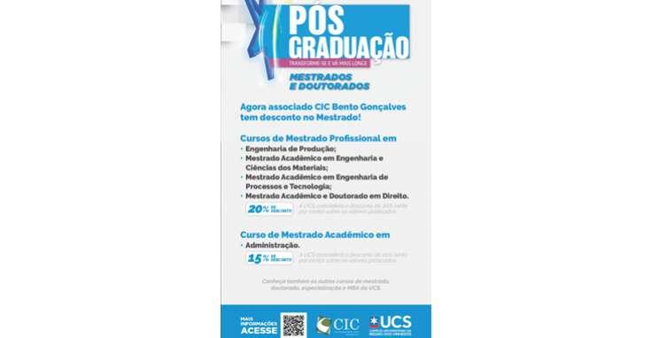 CIC-BG oferece descontos a associados para pós-graduação na UCS